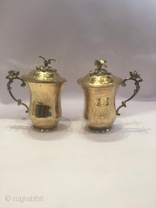 Ottoman Armenian Gold Plating Silver Sahlep Set!!