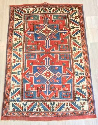 antique anatolian bergama cm 1.35 x 0.99  19th centruy full  pile