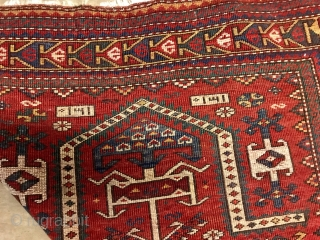 ANTIQUE CAUCASIAN  KAZAK  FACRALU PRAYER  RUG  CM 1.60 X 1.04 VERRY  GOOD  CONDITION