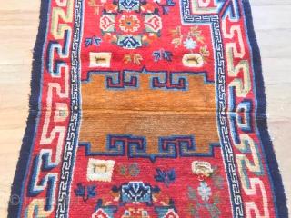 antique Tibetan horse saddle rug cm 1.13 x 0,64  natural colors good  condition