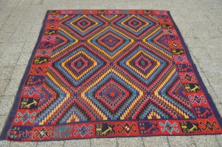 Large Antique sarkoy kilim 16 m2 about 4 x 4 meters