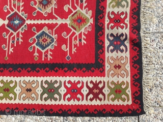 Antique sarkoy Pirot kilim with nice three of life design. prayer size: about 150 x 100 cm Perfect condition, finest weaving