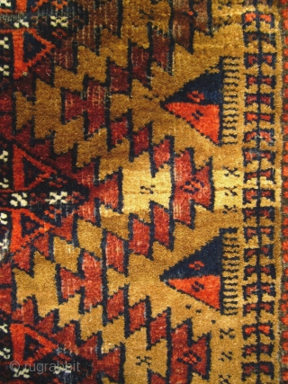 # 596 Baluch balisht, 53/84 cm, Khorasan, East Persia, late 19th century, complete, original opening in the middle of the back side, quite good condition with some moth damages, camel hair field,  ...