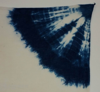 """Indigo Kumo Shibori panel, Japan, Taisho (c.1920), 117x67cm. The common English translation of the Japanese word shibori is """"tie-dye"""". However, a more accurate translation is """"shaped-resist dyeing,"""" which describes the inherent patterning  ..."""