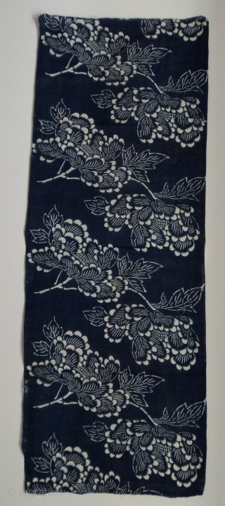 Asa Katazome textile panel, Japan, Meiji (circa 1890), cm88x32.  Katazome is a resist dye technique in which a paste of rice flour and bran is applied to a cloth through a  ...