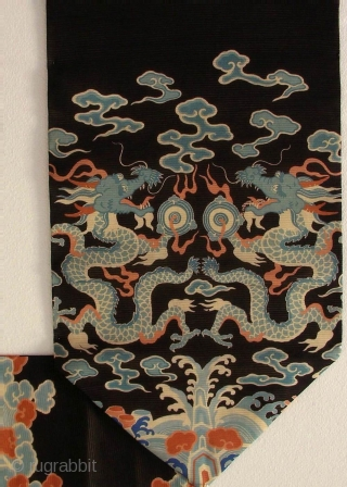 Silk Dragon Obi, Japan, Meiji (circa 1880), cm 292x32.  The 'obi' is a sash for traditional Japanese dresses, and a part of kimono outfits. This one is a so-called 'nagoya obi',  ...