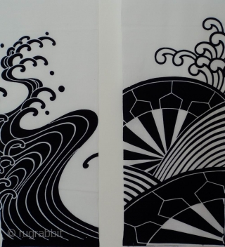 Two cotton indigo panels with 'waves' and 'wheel of the Law' patterns, Japan, Showa (circa 1950's), cm 150x35 each. An interesting find. These bold panels come from an old, recently sourced, job  ...
