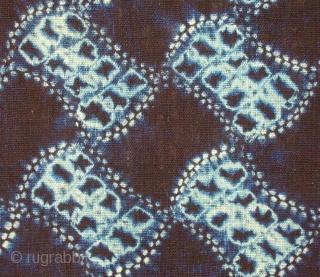 "'bundou- tsunagi' shibori cloth , Japan, Meiji (c.1880), 139x33cm. The common English translation of the Japanese word shibori is ""tie-dye""; however, a more accurate translation is ""shaped-resist dyeing,"" which describes the inherent  ..."