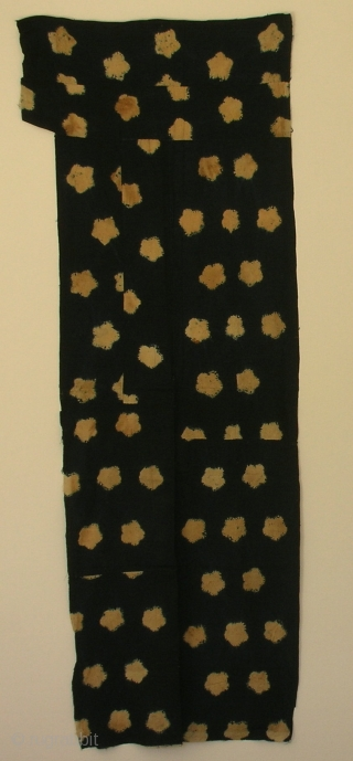 """'Ume blossom' large shibori cloth , Japan, late Edo (c.1850), 166x61cm. The common English translation of the Japanese word shibori is """"tie-dye""""; however, a more accurate translation is """"shaped-resist dyeing,"""" which describes  ..."""