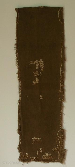 Sakabukuro, Japan, early Showa (c.1930), 75x24cm. Prior to Japan's industrialization, cotton bags permeated with persimmon tannin (kaki shibu) were used in the production of sake. Crude sake, or sake lees, filled this sakabukuro  ...