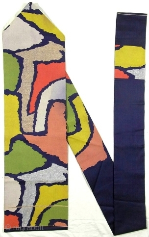 A 'Nicholas de Staël' silk Obi, Japan, Showa (circa 1950), cm 353x31. The 'obi' is a sash for traditional Japanese dresses, and a part of kimono outfits. This one is a so-called  ...