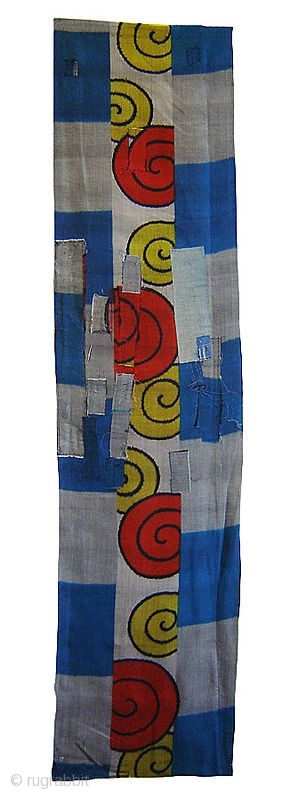 """A Length of """"Jazzy"""" Boro Meisen Silk, Japan, Taisho (circa 1920), cm 147x36. Meisen silk is a development of late nineteenth century Japan, a time when the sumptuary laws of feudal Japan  ..."""