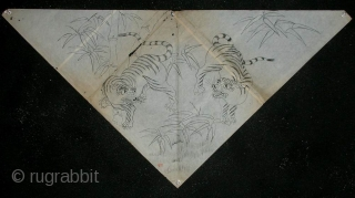 'Tigers' uchishiki drawing, Japan, Meiji (circa 1880), 69x36cm. An 'uchishiki' was a triangular cloth used to cover the front and sides of altars in Buddhist temples. Such cloths were presented to the temple  ...