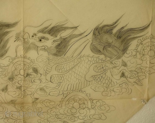 'Chasing dragons' uchishiki drawing, Japan, Meiji (circa 1880), 82x47cm.