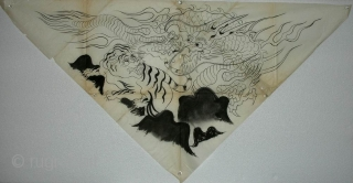 'Crouching Tiger, Hidden Dragon' uchishiki drawing, Japan, Meiji (circa 1880), 94x49cm. An 'uchishiki' was a triangular cloth used to cover the front and sides of altars in Buddhist temples. Such cloths were  ...