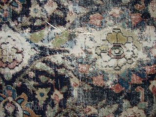 Antique Khorassan kelleh / long carpet. Beautiful colors and very soft good wool. Early 19th century, possible earlier. Some jufti knotting.  Fair to poor condition. Good pile around most edges and borders with  ...