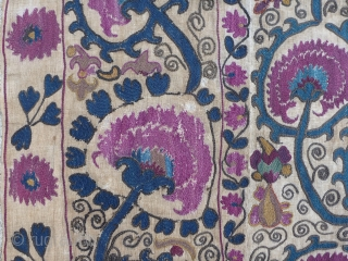 Beautiful antique Uzbek Suzani from the Ura Tube region, which is now in Tajikistan. Silk embroidery on a hand woven linen base cloth, which has darkened from age where exposed. Late 19th  ...