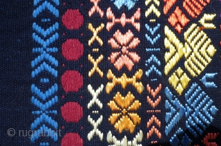 Beautiful vintage unfinished huipil or cover. It may have been ceremonial in nature as the supplementary weft are silk, according to the tag, though I think they may be an early rayon  ...