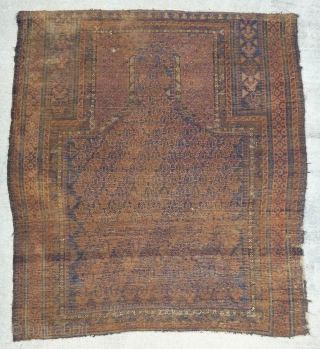 Antique early Dokter-e-Qazi / Dokhtar-i-Gazi (Many spellings seem to exist.) prayer rug. Early example with small amount of white and yellow accents. Probably not a rug for the floor, but to hang.  ...