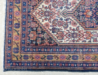 Antique late 19th century Senneh / Senna Persian mat / small rug. Beautiful intense colors including a yellow background border. Border has a muted yellow background Finely woven with an average knot  ...