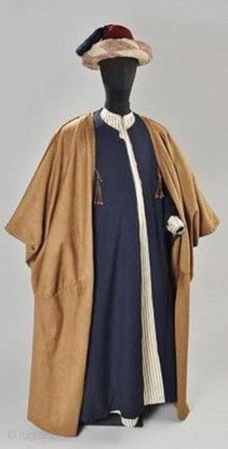 Vintage wool aba or bisht caftan like robe that is worn as the last robe over others, usually by important people in a community. Sometimes, used to be worn by Iraqi rabbis.  ...
