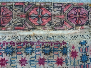 Beautiful antique Ottoman Greek embroidery arched prayer panel known as a quibla. It is composed of various antique Ottoman Greek and Anatolian embroideries in order to create a prayer mat, which are  ...