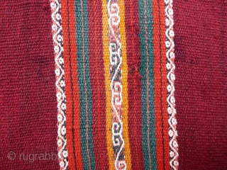 Antique Calcha poncho from Bolivia. Late 19th century or very early 20th century. Very finely woven. All wool. Beautiful colors, which are probably natural. 