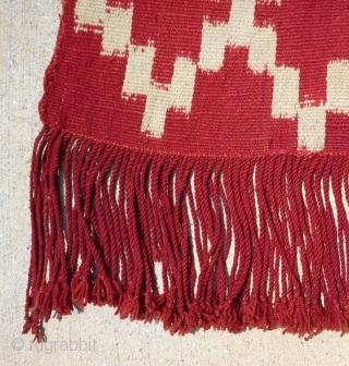 Antique Mapuche chief's ikat poncho, Chile. Unusual small size, which may be for someone of small stature or for some special reason? Very early 20th century; possibly late 19th century. Finely woven.  ...