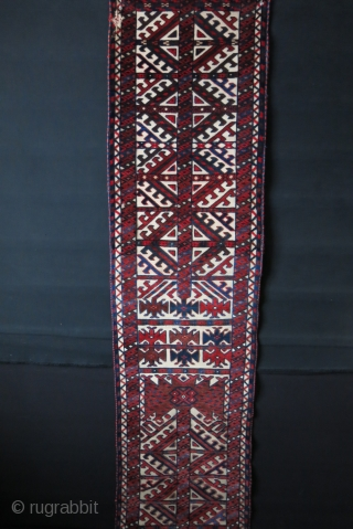 """Turkmen Yomud tent bend fragment, cotton wefted, missing from one end. Total 6 meters - 240"""" pile part. End skirts 21"""" and 22"""" long - 20""""// 50 cm wide One end has some  ..."""