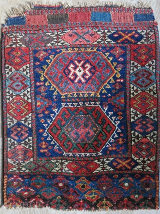 "Senjabi Kurdish bag face with thick pile and saturated great colors. some Old unchanged amazing repairs. Circa 19th cent. Size : 27"" X 21"" - 69 cm X 53 cm"