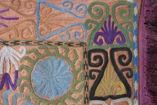 "Uzbek lakai mirror cover. silk emrboidery with original indigo cotton backing. Circa 1900 - 1920. size: 21"" X 20"" -- 54 cm X 51 cm"
