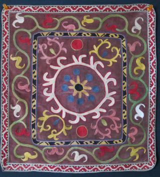 "Tajikistan Lakai miror cover silk emrboiery on velvet, fine chain stitch with natural colors, Circa 1930-40s size: 16"" X 15"" -- 41 cm x 38 cm"