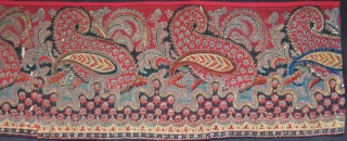 """India Very fine early block print fragment few pieces joined on thin felted panel, mid 19th or earlier Size: 80"""" X 9""""  - 203 cm X 23 cm"""