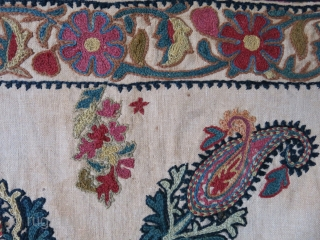 """Kerman wool emrboidery panel on hand loomed cotton natural colors Circa 1900 or earlier 20"""" X 19"""" - 51 cm X 48 cm"""