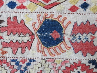 Central Asia - Uzbek Lakai tribal bedding pile cover all wool kilim. woven with panels, some are missing, they are usually longer. It has wears as seen on the images. Not good  ...