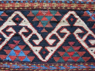 "Caucasus Shasavan kilim sumak woven side pane. Circa 1900-1920 natural colors, size - 24"" by 13"" small old couple reapirs."