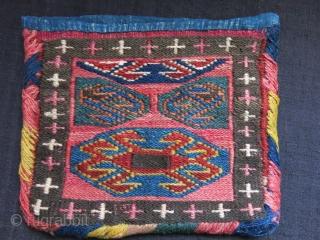 "Shahsavan sumak woven chanteh, original wrappings, opening sides cotton indigo replaced. size: 7.5"" X 6.5"" - 19 cm X 17 cm"