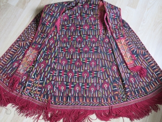 Turkmen Tekke antique over head Chirpy- very good condition amazing saturated dyes, rare design.. sleeves, tassels and indigo dyed /printed cotton lining are all original including early Russian printed cotton under false  ...