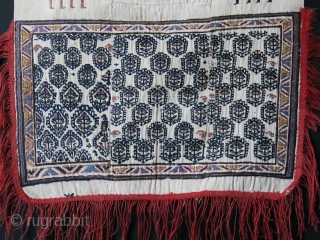 "Shahsavan tribal Saddle cover, woven on Warpface Jajim with deep indigo and other natural colors. Size: 36"" X 24"" - 92 cm X 60 cm"