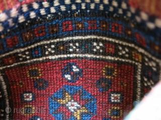 "Luri Qashkai small bag, high pile and good condition. Circa 1900 size: 9.5"" X 10"" - 24 cm X 25.5 cm"