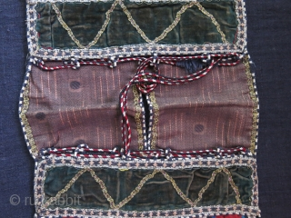 """Shahsavan Jajim silk mini double bag, very fine weave with original velvet center and metallic tassels and silk braided locking loops and yarns. Circa second half of 19th cent. Size: 19.5"""" X  ..."""