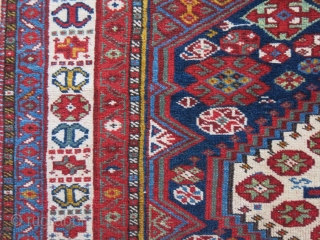 Qashkai all wool rug with brown wool warps. smaller size then usual with still pile on most places. Amazing usual saturated colors. two very tiny old reapir can be redone by old  ...