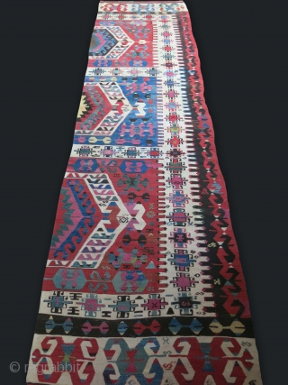 "Western Anatolia Aydinli Turkmen Half panel kilim. small old reapirs with old wool / no fading in rapirs, circa: mid 19th or earlier. Size : 125"" X 33"" - 317 cm X  ..."