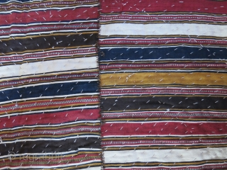"Shahsavan tribal blanket with mazenderan kilim top and indigo dyed cotton under cover. Great condition, just washed and cleaned professionally. Size: 84"" X 66"" - 215 cm X 168 cm"