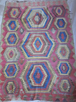 "Central Anatolia - Cumra / Chatalhoyuk land of Kilims, survived battles and storms and still hanging up there with old repairs & wounds. Circa : early 19th cent. Size: 63"" X 45""  ..."