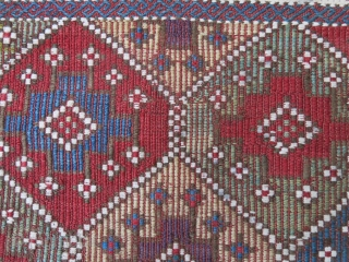 "Caucasus Azerbaijan extra weft woven bag face. all natural colors, bottom end corners - minor repair. Circa 19th cent. size : 21"" X 20"" -- 53 cm X 51 cm"