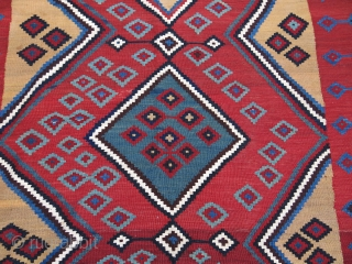 "Qashkai tribal kilim, couple minor old repairs. saturated colors, great condition. Circa 19th cent. Size"" 117"" X 65"" -- 297 cm X 165 cm"
