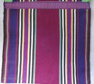 "Azerbaijan ethnic silk jajim small double bag. Used but has great patina and condition.  Circa 19th cent. Size : 22"" X 10"" - 56 cm X 26 cm"