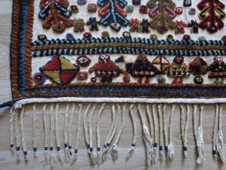 """Qashkai saddle cover,amazing saturated natural wool - colors and raised pile weave on warpface cotton background. A slit area very ptrofessional reapir. Circa second half of 19th cent. size: 61"""" X 59""""  ..."""