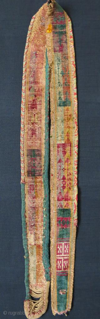 """Central Asia Bokhara both side velvet woman's belt. size: 45"""" X 2"""" - 115 cm X 5 cm"""